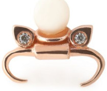 Taurus rose gold-plated faux pearl and crystal earring