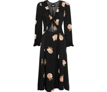 Heidi Cutout Ruffle-trimmed Floral-print Crepe Dress