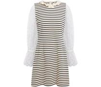 Claudia Minikleid aus Baumwoll-jersey mit Streifen und Lochstickerei-besatz