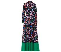 Frida Bedrucktes Hemdkleid in Maxilänge aus Baumwollpopeline