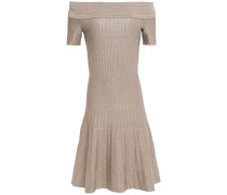 Off-the-shoulder Metallic Ribbed Stretch-knit Mini Dress