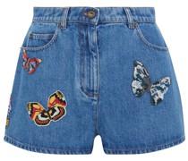 Bead-embellished Denim Shorts