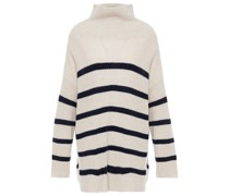 Striped Ribbed Cashmere Turtleneck Sweater