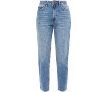 Cropped Embroidered High-rise Slim-leg Jeans