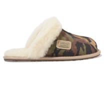 Printed Shearling Slippers Sand