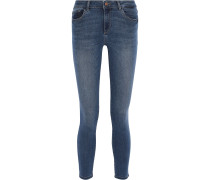 Woman Florence Cropped Low-rise Skinny Jeans Mid Denim