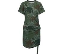 Gerafftes Minikleid aus Stretch-baumwoll-jersey mit Print