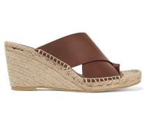 Suraya Leather Espadrille Wedge Sandals Schokoladenbraun
