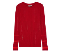 Sequin-embellished Ribbed Wool-blend Sweater
