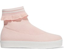 Bobby Ruffle-trimmed Stretch-knit High-top Sneakers