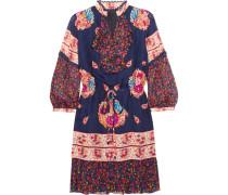 Printed Silk-jacquard And Silk-crepon Mini Dress Mehrfarbig