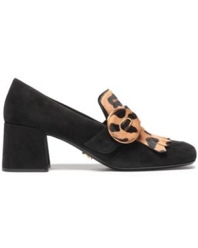 Woman Leopard-print Calf Hair And Suede Pumps Black
