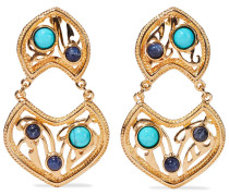 24-karat Gold-plated,  And Stone Clip Earrings