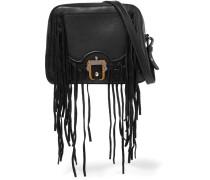 Didi Suede Fringed Leather Shoulder Bag Schwarz