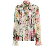 Pussy-bow Lace-trimmed Ruffled Floral-print Silk-blend Chiffon Blouse