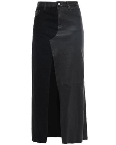 Paneled Leather And Denim Midi Skirt Black