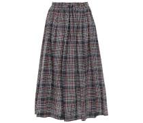 Lulu Checked Cotton And Silk-blend Twill Midi Skirt