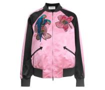 Appliquéd silk-satin bomber jacket