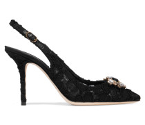 Embellished Corded Lace And Mesh Slingback Pumps Schwarz