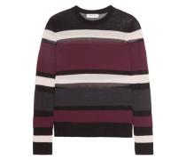 Rachel mesh-paneled striped wool-blend sweater