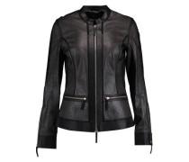 Metallic perforated leather jacket