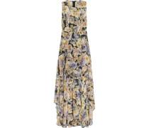 Floral-print Chiffon Gown Ecru