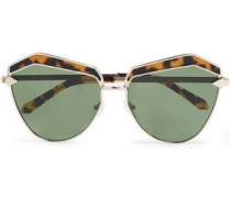 Cat-eye gold-tone and tortoiseshell acetate sunglasses