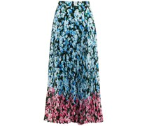 Pleated Floral-print Crepe Midi Skirt