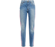 Neon-trimmed Faded High-rise Slim-leg Jeans
