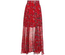 Diamond Gathe Floral-print Georgette Maxi Skirt