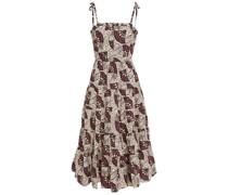 Ellyn Gathered Printed Cotton-poplin Midi Dress