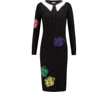 Embroidered Knitted Dress Schwarz