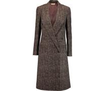 Checked Wool Coat Schokoladenbraun