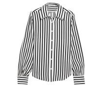 Gathered Striped Silk-satin Shirt
