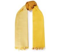 Schal aus Wolle in Colour-block-optik mit Fransen