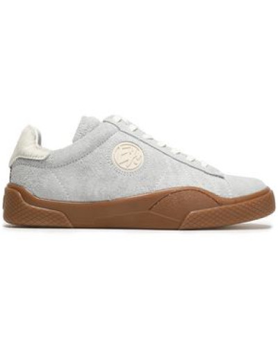 Wave Calf Hair-trimmed Suede Sneakers Off-white