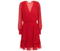 Wrap-effect Polka-dot Crepe Mini Dress