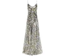 Cutout Floral-print Silk-blend Lamé Maxi Slip Dress