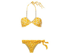 Chain-trimmed Knotted Printed Halterneck Bikini