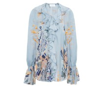 Lace-up Crystal-embellished Ruffled Printed Silk-chiffon Blouse