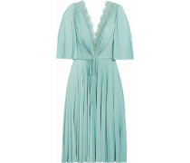 Hollace Lace-trimmed Pleated Satin-jersey Dress Mint