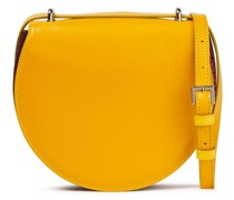 Pleated Color-block Smooth And Croc-effect Leather Shoulder Bag