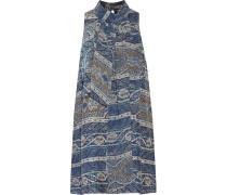 Flotus Tie-neck Printed Silk-jacquard Mini Dress Hellblau