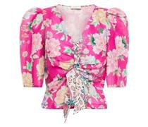 Becky Cropped Floral-print Linen And Silk-blend Shantung Top