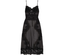 Chantilly Lace-paneled Chiffon Chemise Schwarz