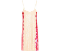 Georgia Striped Sequined Chiffon Mini Slip Dress