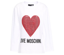 Woman Embellished Printed French Cotton-blend Terry Sweatshirt White