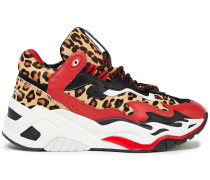 Monogram-trimmed Leopard-print Calf Hair And Leather Sneakers