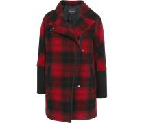 City Grid Plaid Wool-blend Coat Bordeaux