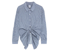 Tie-front Striped Shell Shirt
